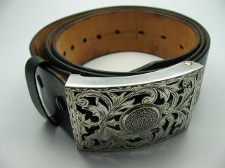 Wunderschöne Große Gürtelschnalle Aus 925 Sterling Silber Mit 115 Cm Ledergürtel Bild