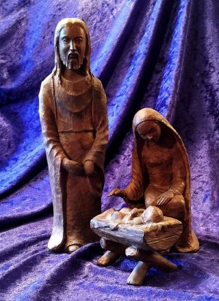 Antike Große Keramik Krippenfiguren / Maria Josef Christus In Der Krippe / 27 Cm Bild