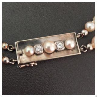 Zweieihiges Zartes Perlencollier 585 Er Weißgold Brillant Schließe Perlenkette Bild