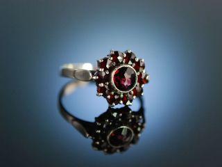 Historischer Granat Ring Antiker Trachten Ring Silber Österreich Um 1910 Bild
