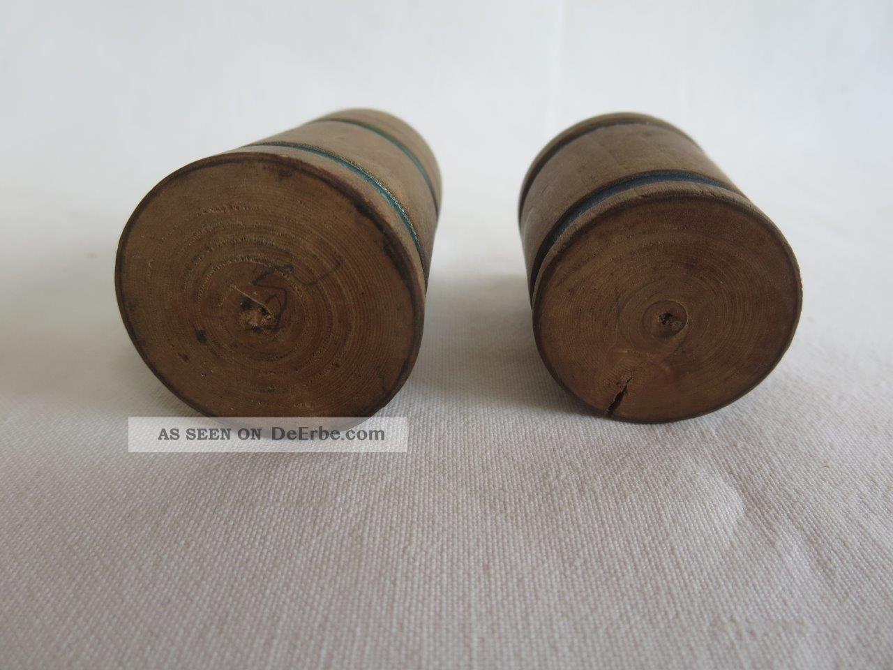 2 Uralte Holzgefäße Für Die Pk,  Erzgebirge Gedrechselt,  Um 1900 Original, gefertigt vor 1970 Bild