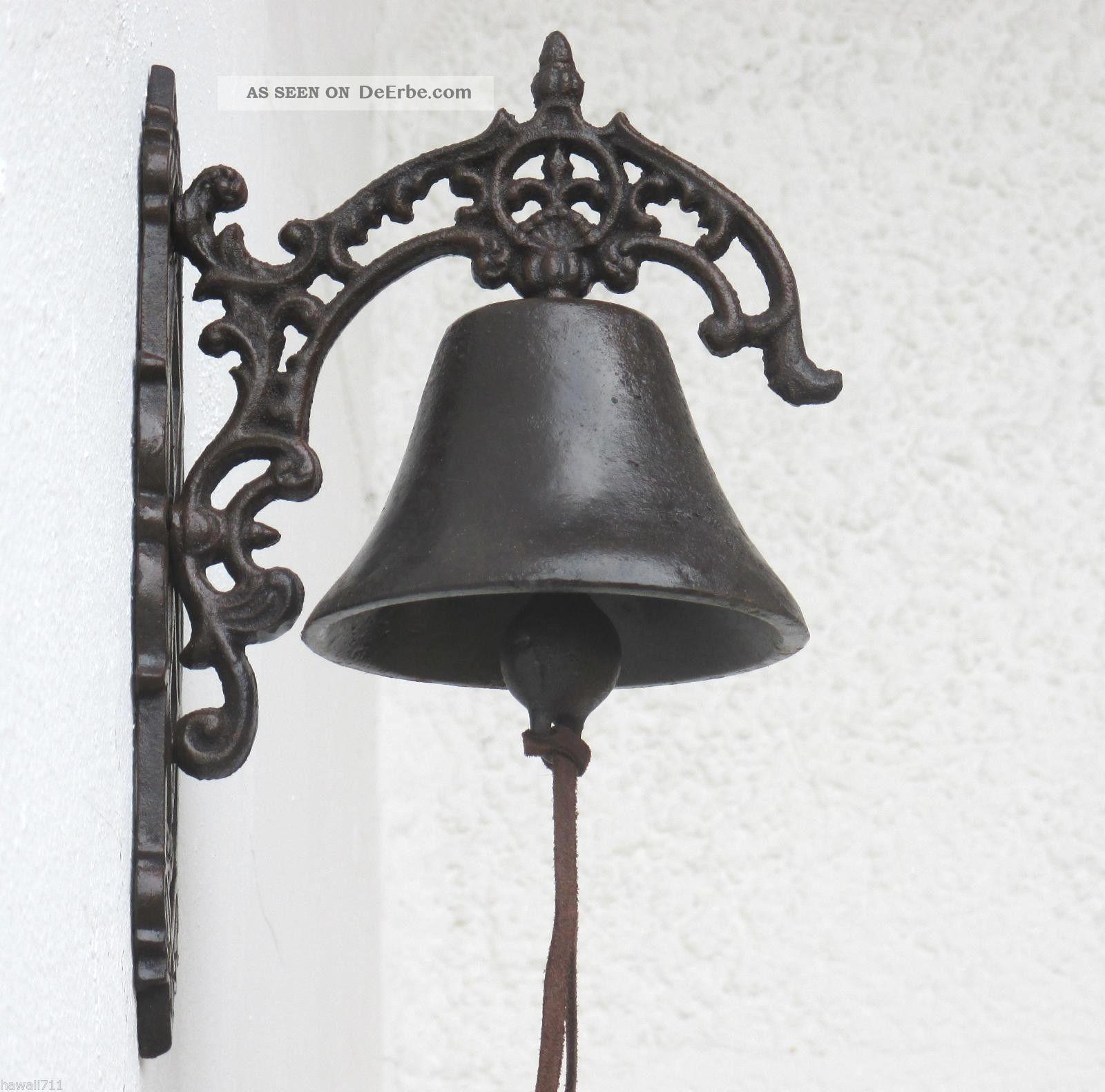 Glocke Klingel Türglocke Anitk Wand - Glocke Gusseisen Garten - Haus Geläut 40cm Gefertigt nach 1945 Bild
