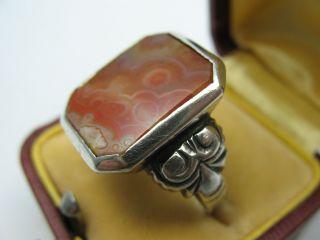 Sehr Schöner Alter Siegelring Aus 835 Silber Mit Achat Bild