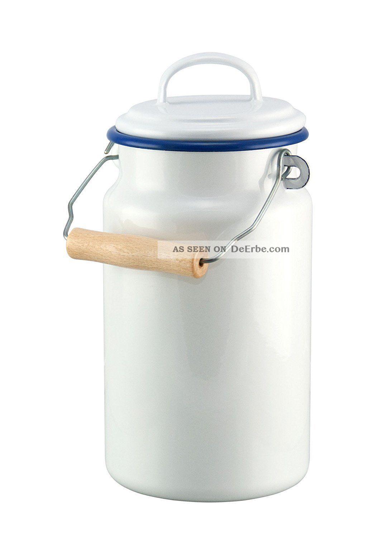 Emaille Milchkanne 2 Ltr Weiß Mit Blauem Rand - Kanne - Nostalgie Stil Emailwaren Bild