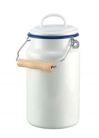 Emaille Milchkanne 2 Ltr Weiß Mit Blauem Rand - Kanne - Nostalgie Stil Bild