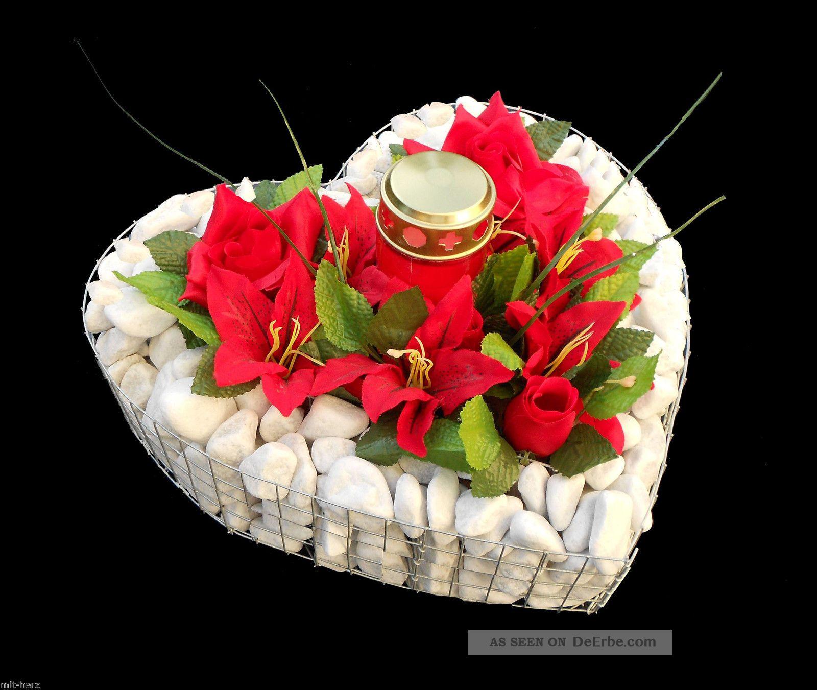 Grabherz M.  Kies Rosen Lilien U.  Grablicht 35x35x8cm Grabschmuck Herz Friedhof Nostalgie- & Neuware Bild
