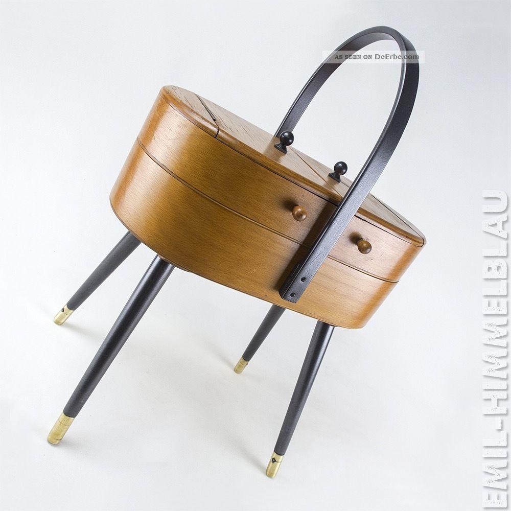 NÄhkasten Holz Mid Century Sewing Box Rockabilly NÄhbox Holz Vintage 50er 60er 1950-1959 Bild