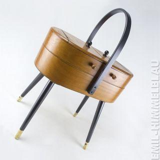 NÄhkasten Holz Mid Century Sewing Box Rockabilly NÄhbox Holz Vintage 50er 60er Bild