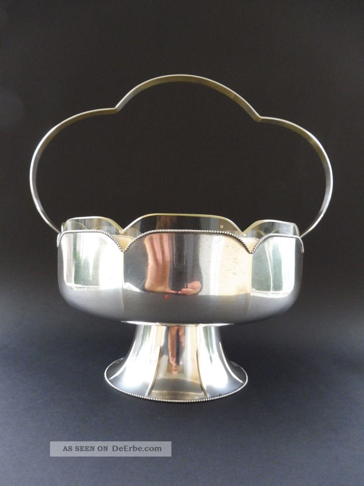 Wmf Jugendstil Jardiniere Wiener Stil Perlrand Art Nouveau Vergoldet Gilt Glas 1890-1919, Jugendstil Bild
