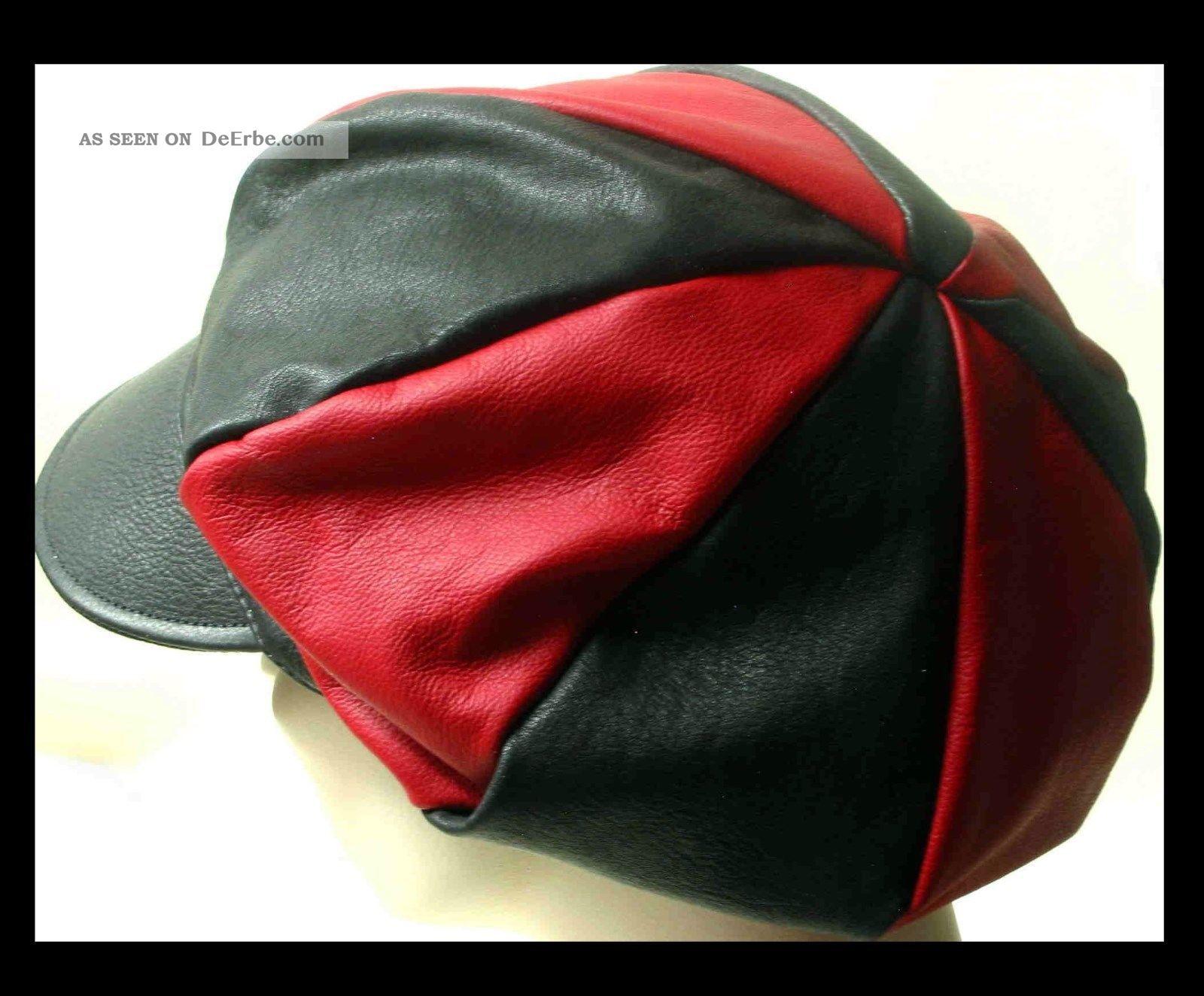 First Class Ballonkappe Leder Cap Kappe 1a Lederkappe 2 - Farbig Schwarz - Rot Accessoires Bild