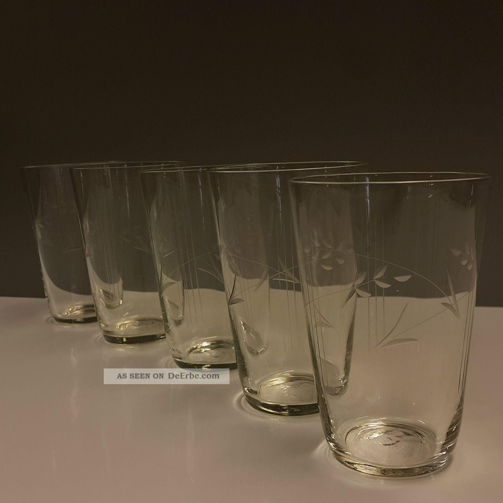 5 Alte Wassergläser Saftgläser Dünnwandig Feiner Streifen Blütenstengel Schliff Kristall Bild
