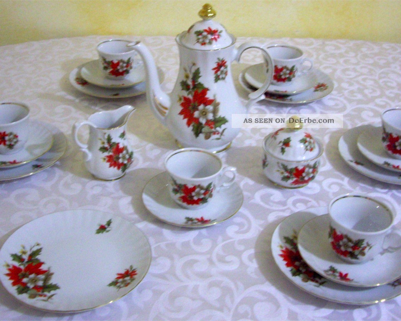 Kaffeeservice Weihnachtsstern Mit Goldrand - Retsch - Bavaria 1970-1979 Bild