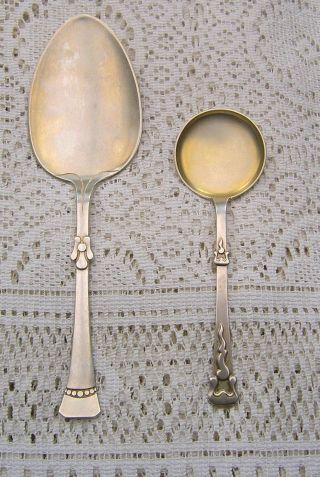 Twee Zilveren Jugendstil Serveerlepels Peter Hertz 1904 - 1905 Bild