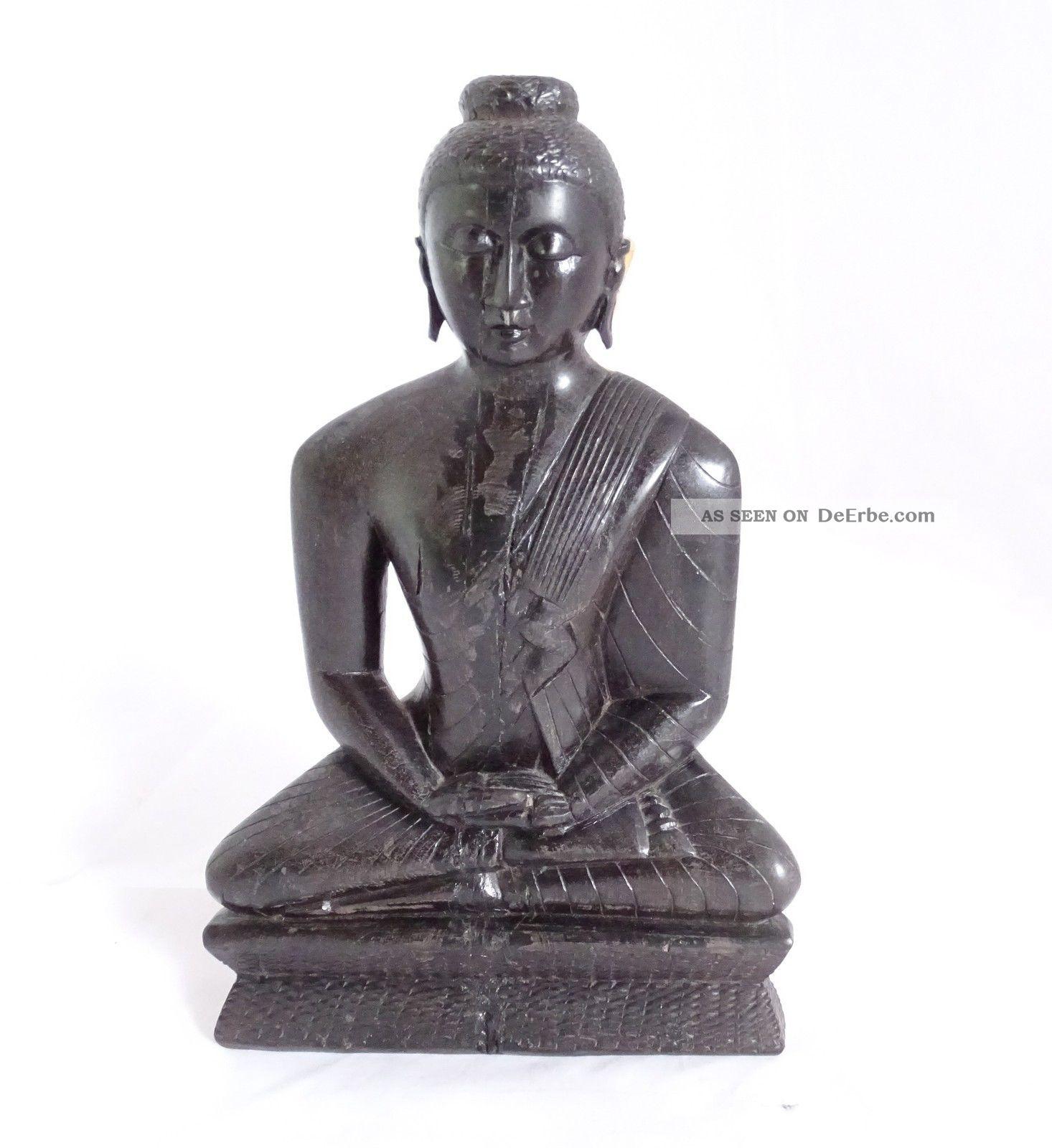 Sehr Schwere Wohl Ebenholz Figur Indisch Ganesha Shiva Hanuman Radha Krishna Entstehungszeit nach 1945 Bild