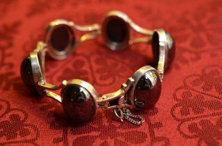 Schönes Elegantes Massives Silber 835 Hematitsteine - Blutsteine Damenarmband Bild