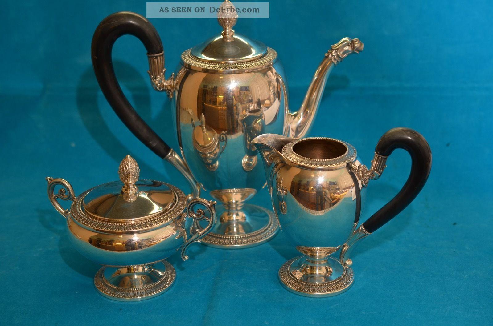 Alte Kaffeekanne Mit Sahnekännchen Und Zuckerdose Silber 800 1250 Gramm Objekte vor 1945 Bild