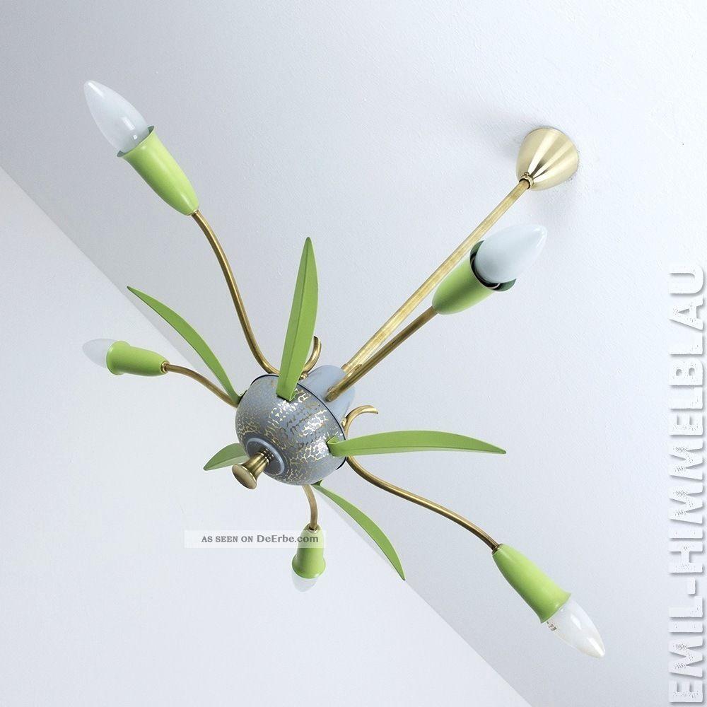 2 Sputnik 5 - Armig Decken Pendel Lampe 50er Spinne GrÜn Rockabilly Vintage 1950-1959 Bild
