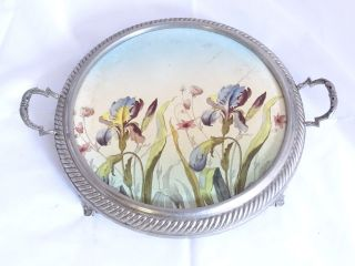 Antike Seltene Tortenplatte Kuchenplatte In Metallfassung Blumendekor Bild