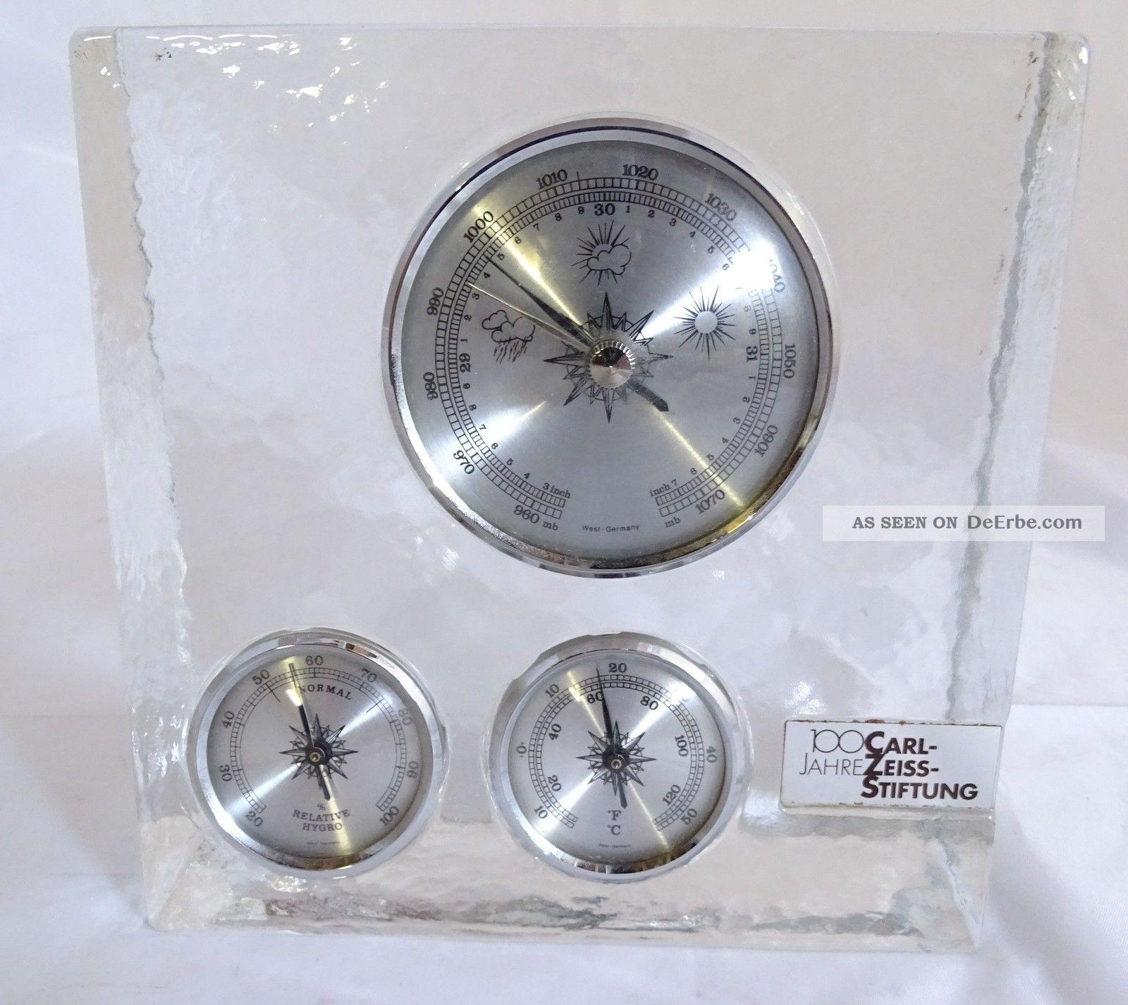 Glasblock Barometer Thermometer 100 Jahre Carl Zeiss Stiftung Gesuchte Rarität Wettergeräte Bild