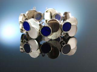 Sixties Design Bracelet Schweres Armband Relo Studio Silber 925 Lapislazuli 1965 Bild
