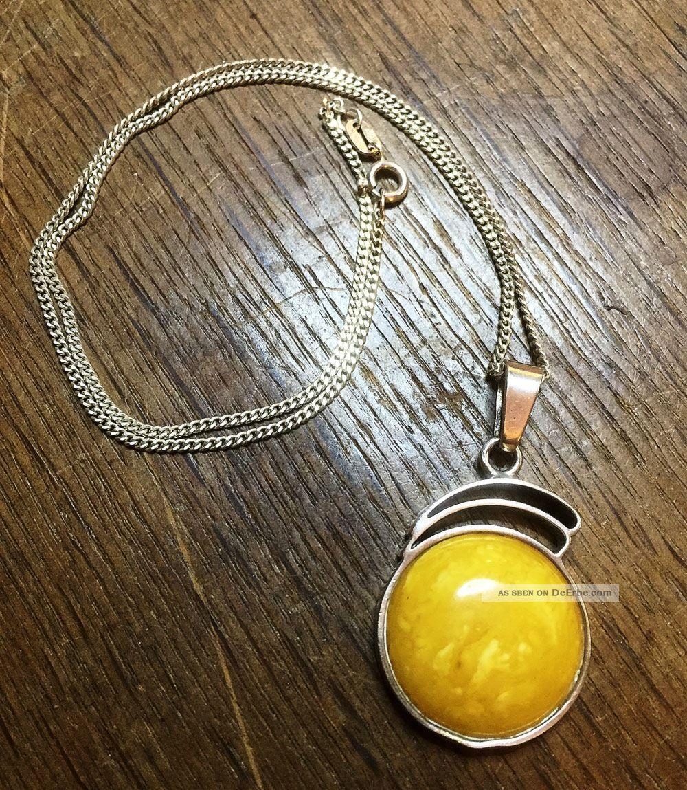 Antike Art Déco Silberkette Mit Großem Bernstein Butterscotch Real Amber Schmuck nach Epochen Bild
