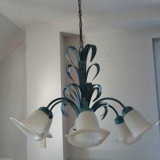 Hängelampe 6 Flammige Florentiner Deckenleuchte Lampe Metall Blau Türkis Bild