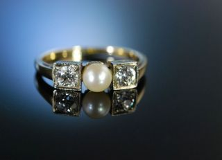 Antik Um 1915 Ring Gold Diamanten Natur Perle Antique Diamonds Natural Pearl Bild