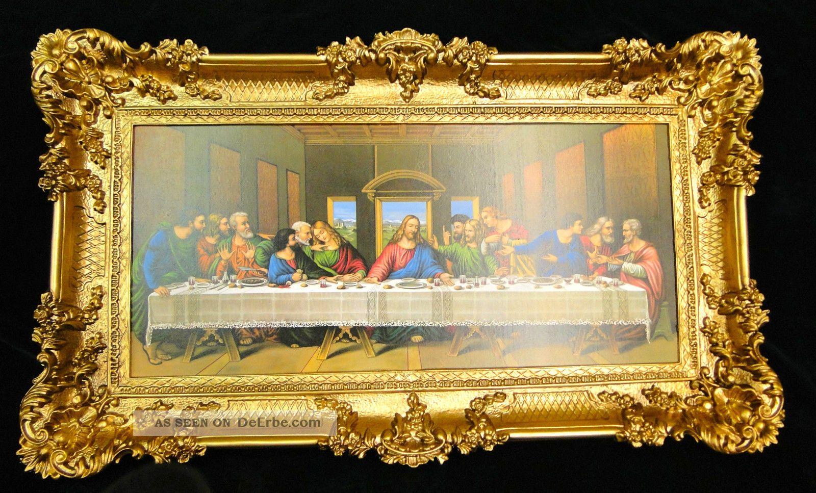 Heiligenbilder Abendmal Ikonen 96x57 Gemälde Mit Rahmen Jesusbild Da Vinci Ikonen Bild