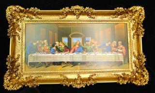 Heiligenbilder Abendmal Ikonen 96x57 Gemälde Mit Rahmen Jesusbild Da Vinci Bild