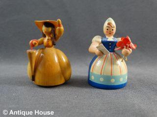 Erzgebirge Volkskunst Gahlenz Biedermeier Dame Und Hollandmädchen Holzfiguren Bild