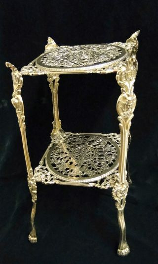 Beistelltisch Antik Messing Tisch Blumenständer 46x25 Telefontisch Bild