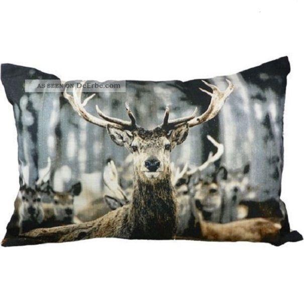 Kissen Winter Hirsch Sofakissen Dekokissen 60 X 40 Cm Mit Inlet Deer Jagd & Fischen Bild