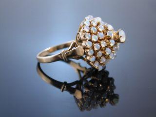 Traumhafter Grosser Sixties Vintage Opal Ring Cluster Gold 585 Usa Um 1960 Bild