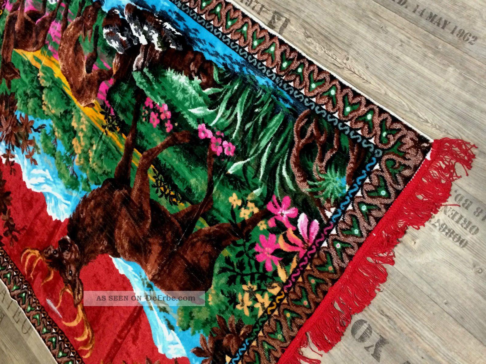 Wanddeko Wandteppich Aus Italien 170 X120 Hirsch Motiv Wandbehang Unikat Grün Teppiche & Flachgewebe Bild