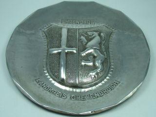 Landkreis Grevenbroich Großer Alter Wappen Teller Aus Komplett 925 Silber Bild