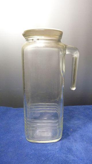 Vintage Glaskaraffe - Saftkaraffe - Wasserkrug - Ca.  80er Jahre - Deckel Weiß Bild