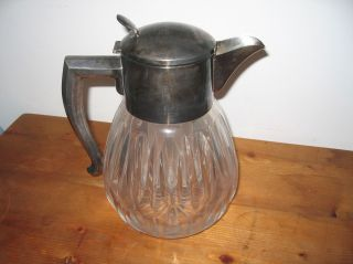 Mussbach Kalte Ente Karaffe,  Kristall Glas,  Montur Versilbert Art Deco Bild