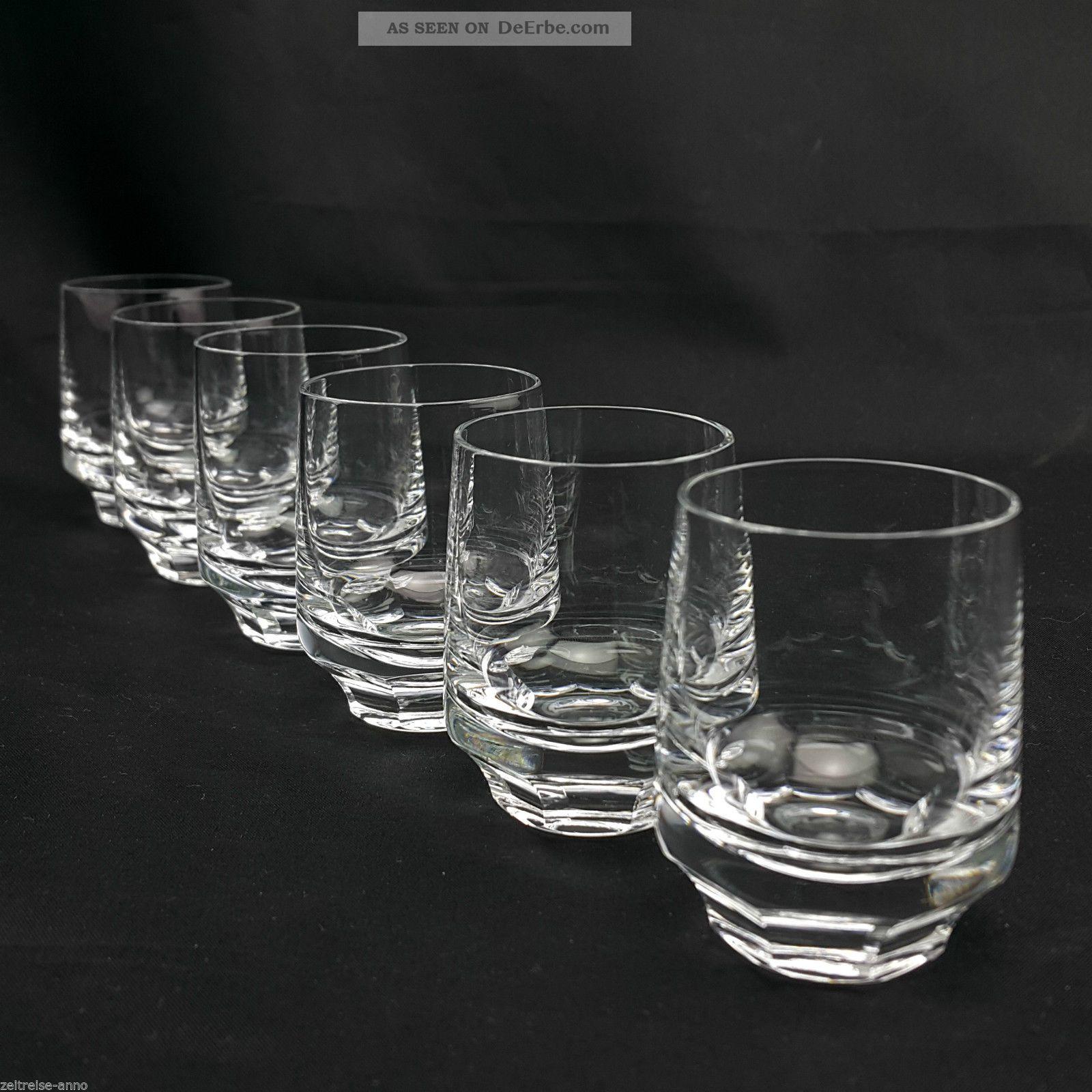 6 Schnapsgläser Gral Glashütte Juwel Schnapsglas Zeitlos Modern 60 /70er Design Kristall Bild