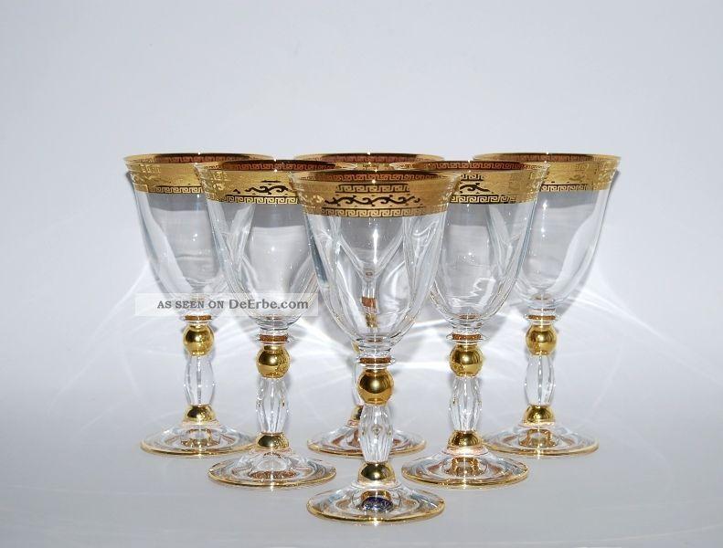 6 WeinglÄser,  220 Ml. ,  Bohemia Kristallglas,  Handbemalt In Gold,  Serie Gracia Kristall Bild