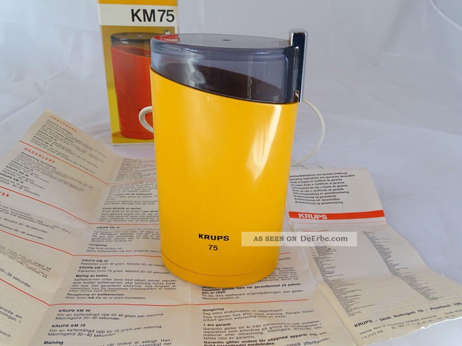 Vintage Panton Ära Krups Kaffeemühle Km 75 Orange Inkl.  Ovp Elektrisch 1970-1979 Bild