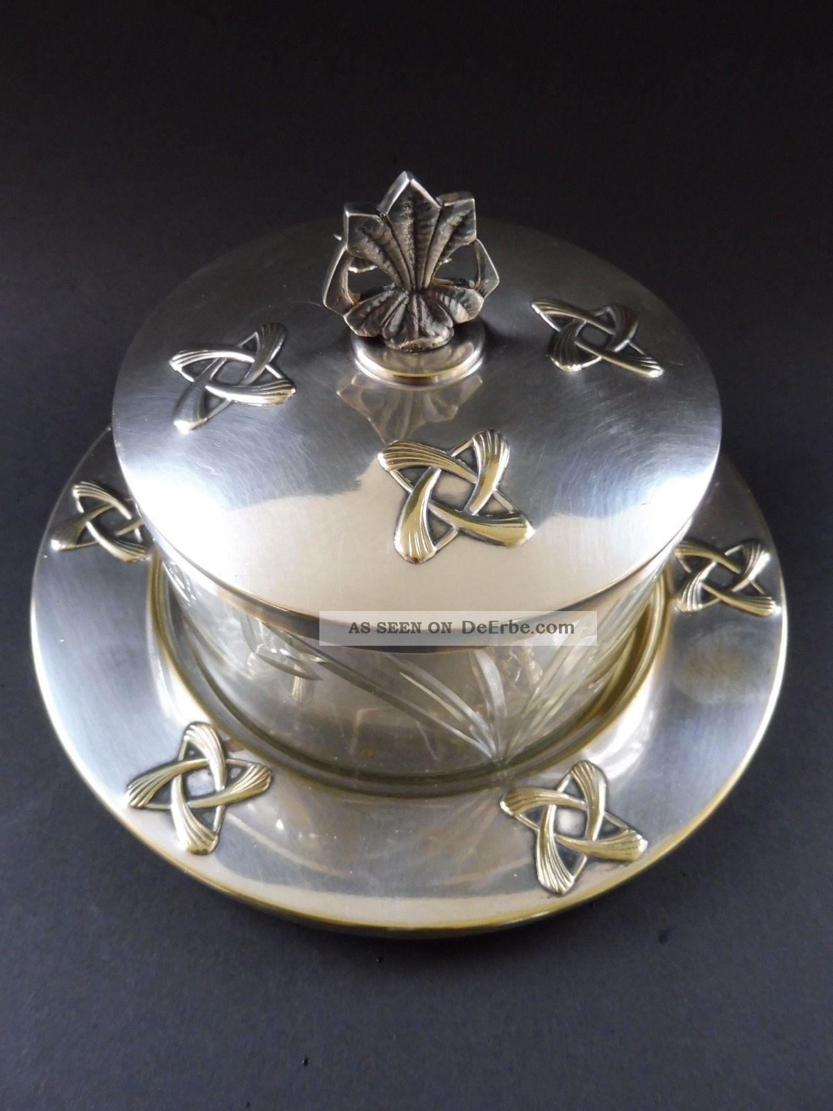 Wmf Jugendstil Deckeldose Kristallglas Art Nouveau Bonbonniere Cookie Box Glass 1890-1919, Jugendstil Bild