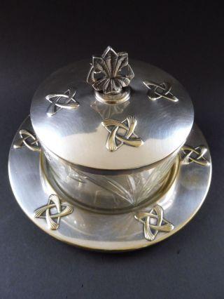 Wmf Jugendstil Deckeldose Kristallglas Art Nouveau Bonbonniere Cookie Box Glass Bild