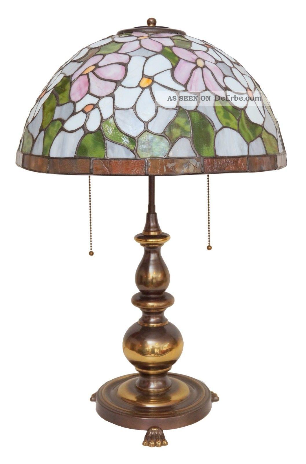 Sehr Schwere Große Tiffany Jugendstil Salon Tischlampe Messing Angebot Gefertigt nach 1945 Bild