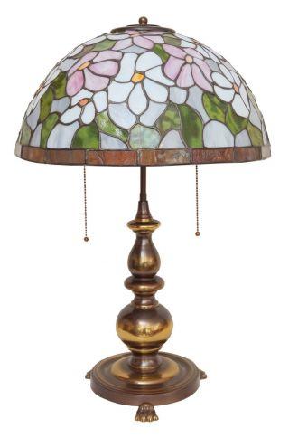 Sehr Schwere Große Tiffany Jugendstil Salon Tischlampe Messing Angebot Bild