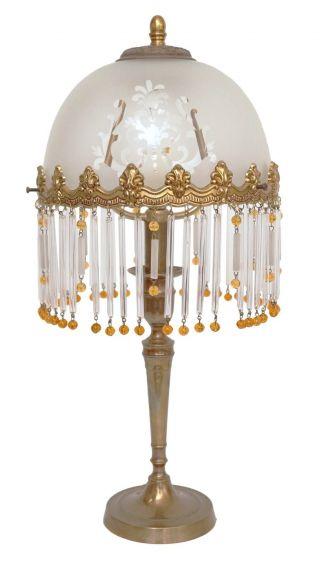 Edle Jugendstil Schreibtischleuchte Tischlampe Glasstäbchen Vorhang Bild