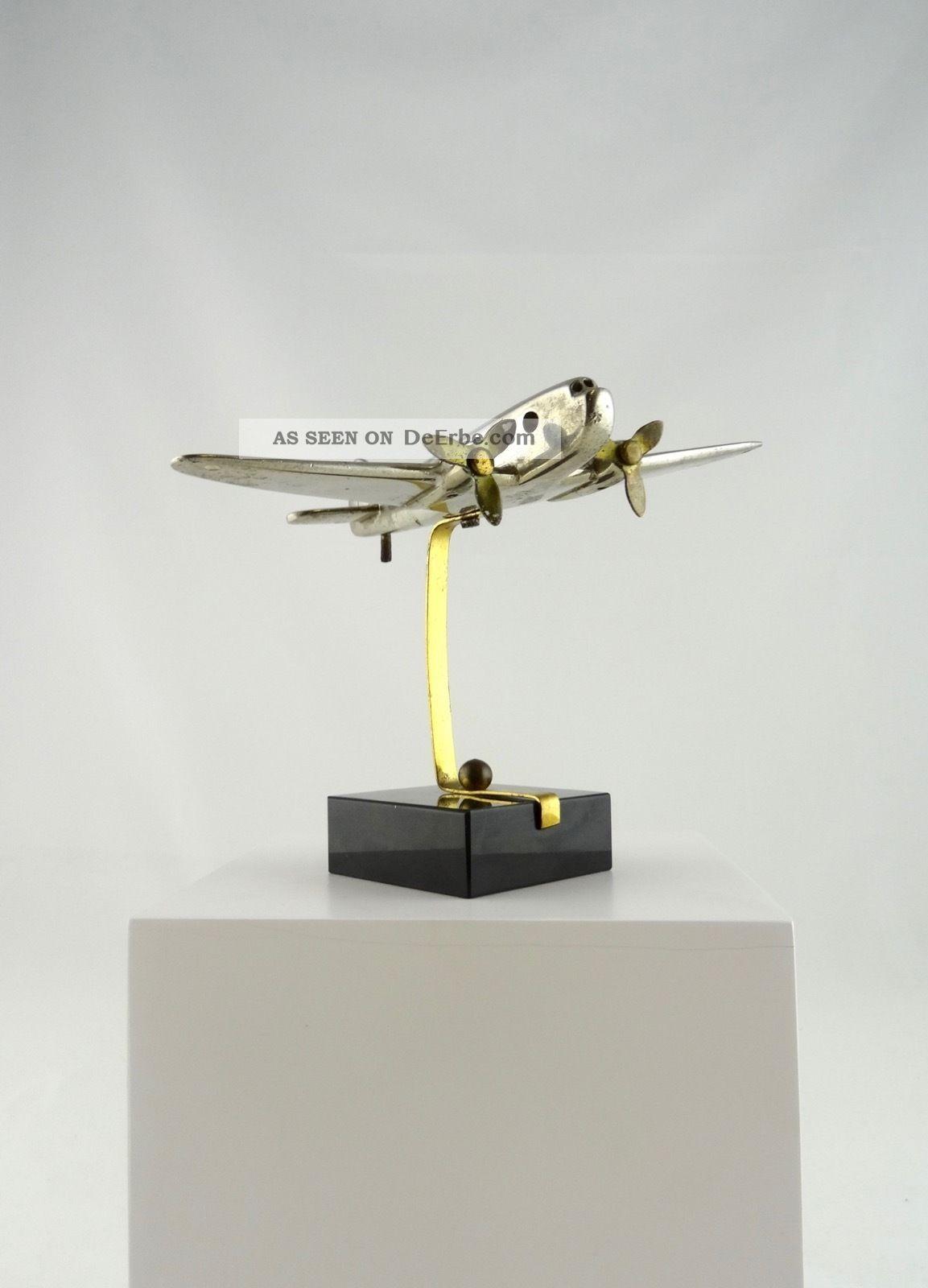Art Deco Metall Flugzeug Skulptur Auf Onyx Luftfahrt Frankreich 1940 1920-1949, Art Déco Bild