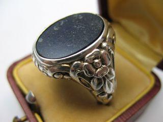 Wunderschöner Stabiler Alter Siegelring Aus 835 Silber Mit Lapislazuli Bild