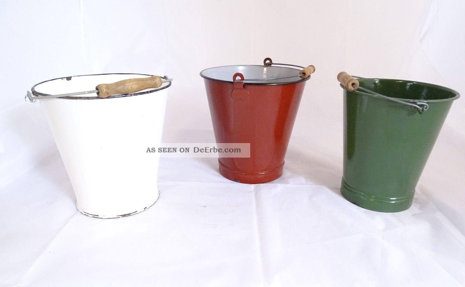 3 Alte Emaillierte Eimer Versch.  Farben Vintage Shabby Chic Dekoration Emailwaren Bild