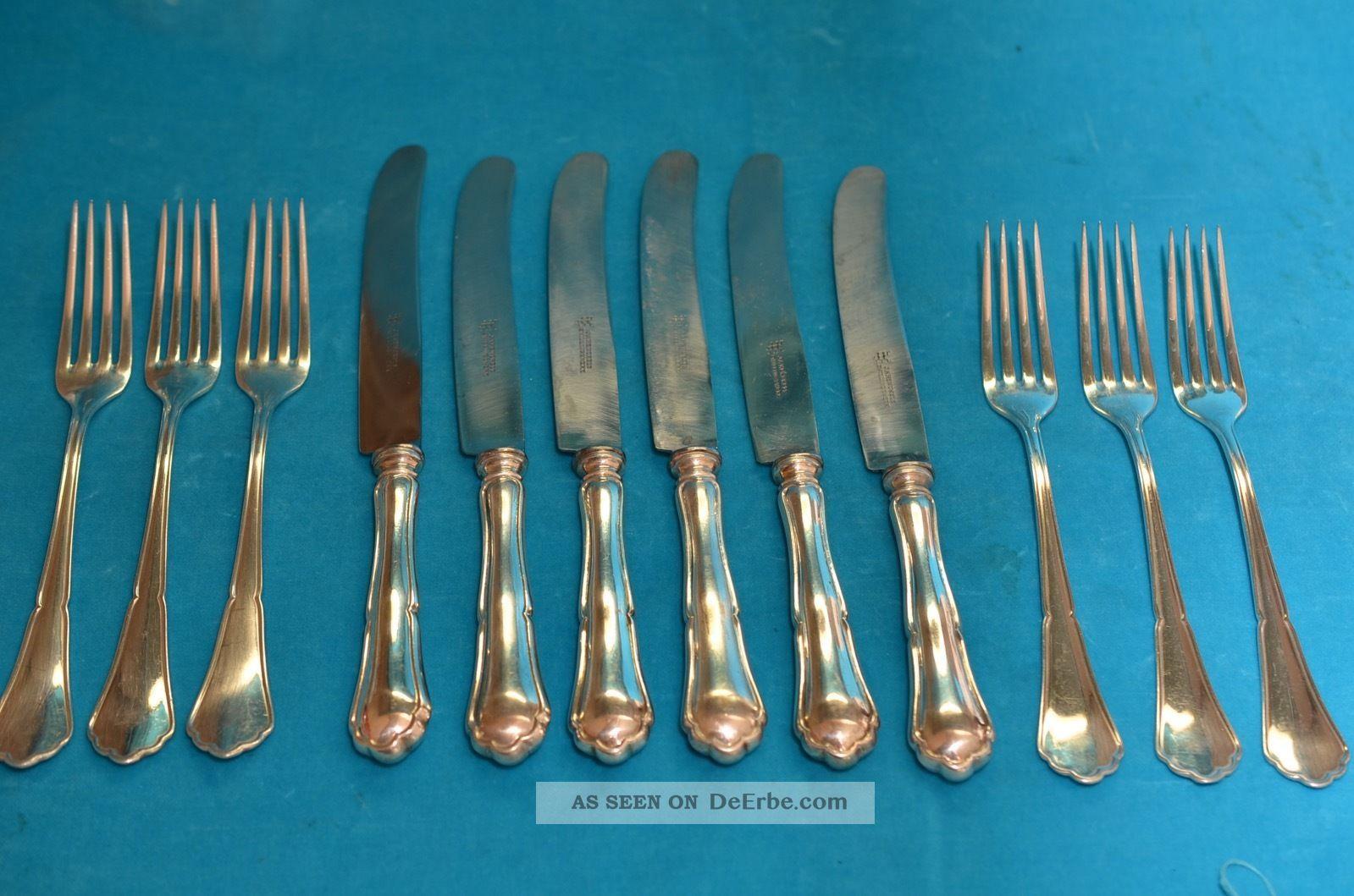 Altes Art Deco J.  A.  Henckels 6 Personen Essbesteck Silber 800 770 Gramm Objekte vor 1945 Bild