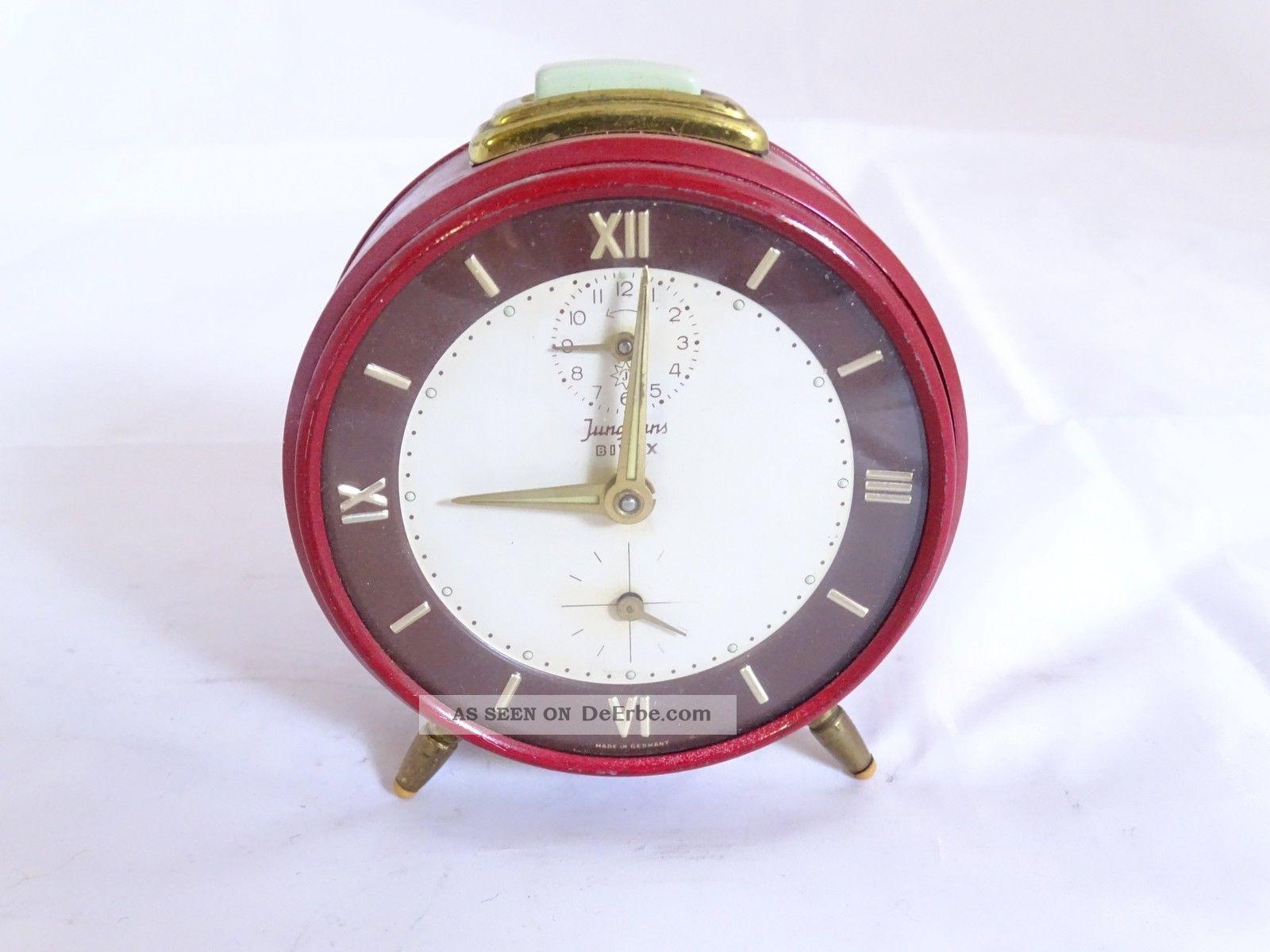 Junghans Bifox Mid Century Wecker In Rot Extra Sekunde Volle Funktion 1960-1969 Bild